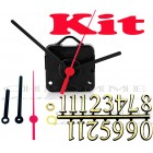 Kit 10 Maquinas De Relógio 17 m.m + Ponteiros Palitos + Números Arábicos Dourados