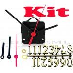 Kit 10 Maquinas De Relógio 13 m.m + Ponteiros Palitos + Números Arábicos Dourados
