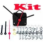 Kit 10 Maquinas De Relógio 22 m.m + Ponteiros Palitos + Números Arábicos Pratas