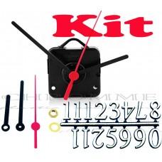 Kit 10 Maquinas De Relógio 13 m.m + Ponteiros Palitos + Números Arábicos Pratas