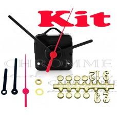 Kit 10 Maquinas De Relógios 22 m.m + Ponteiro Palito + Números Arábicos Bola Dourados