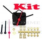Kit 10 Maquinas De Relógios 17 m.m + Ponteiro Palito + Números Romanos Bola Dourados