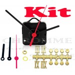 Kit 10 Maquinas De Relógios 22 m.m + Ponteiro Palito + Números Romanos Bola Dourados