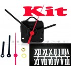 Kit 10 Maquinas De Relógio 13 m.m + Ponteiros Palitos + Números Romanos Brancos