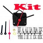 Kit 10 Maquinas De Relógio 19 m.m + Ponteiros Palitos + Números Romanos Pratas