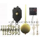 Kit 10 Máquinas De Relógio De Pendulo Musical + Ponteiro Colonial Dourado + Algarismo Arabico Dourado