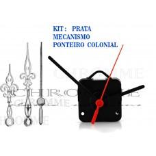 Kit 10 Maquinas De Relógios 17 m.m + 10 Ponteiros Coloniais Prata