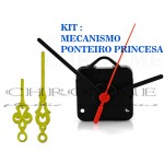 10 Maquinas Para Relógios 17 m.m + 10 Ponteiros Princesa Grandes Dourados
