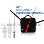 10 Maquinas Para Relógios 17 m.m + 10 Ponteiros Princesa Médio Prata