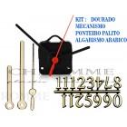 Kit 10 Maquinas 22 m.m + 10 Ponteiros Palitos + 10 Números Arábicos -Dourados-