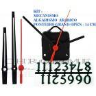 Kit 10 Maquinas De Relógio 13 m.m + Ponteiros Grand Open + Numeros Arabicos