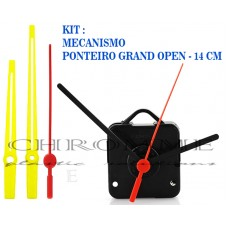 10 Maquinas De Relógio 19 m.m + Ponteiros Grand Open Amarelo