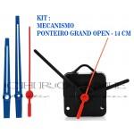 10 Maquinas De Relógio 19 m.m + Ponteiros Grand Open Azul