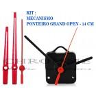 10 Maquinas De Relógio 13 m.m + Ponteiros Grand Open Vermelho