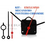 Kit 10 Maquinas De Relógio 13 m.m + 10 Ponteiros Grandes Exclusivos Chromme