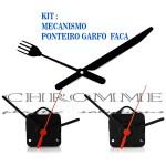 Kit 10 Maquina De Relógio Parede 22 m.m + Ponteiro Garfos e Facas