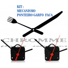 Kit 5 Maquina De Relógio Parede 17 m.m + Ponteiro Garfos e Facas