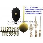 6 Máquinas De Relógio Pendulo + Algarismo Arábico + Ponteiros Coloniais Dourado