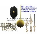 10 Máquinas De Relógio Pendulo + Algarismo Arábico + Ponteiros Coloniais Dourado