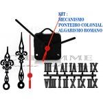 Kit 10 Maquinas De Relógios 13 m.m Continuos + 10 Ponteiros Coloniais + 10 Números Romanos