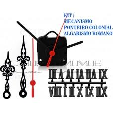 Kit 10 Maquinas De Relógios 22 m.m + 10 Ponteiros Coloniais + 10 Números Romanos