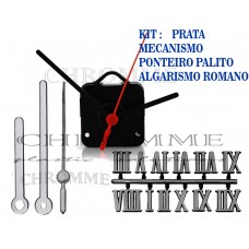 Kit 10 Maquinas 17 m.m + 10 Ponteiros Palitos + 10 Números Romanos -Prata-