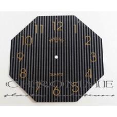 Mostrador Para Relógio Oitavado com Verniz Localizado 23 X 23 cm -  Preto / Dourado - EMBALAGEM COM 10 UNIDADES
