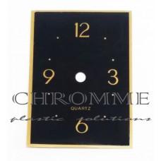 Mostrador Para Relógio Retangular 13 X 9 cm - Preto / Dourado - EMBALAGEM COM 10 UNIDADES