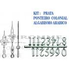 10 Números Arábicos Para Relógios + 10 Kits De Ponteiros Coloniais Pratas