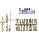 10 Números Romanos Para Relógios + 10 Kits De Ponteiros Coloniais Dourados