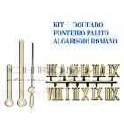 10 Números Romanos Para Relógios + 10 Kits De Ponteiros Palitos Dourados